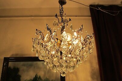 Antique Vnt. French HUGE SPIDER Style Crystal Chandelier Lamp Light 1940's 21 in