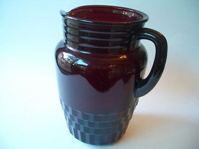 """Vintage Ruby Red Pitcher 8"""" Tall With No Makers Mark"""