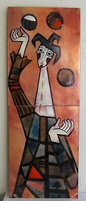 Vtg Mid Century Modern Woolley Era Enamel on Copper Clown Juggler Wall Plaque