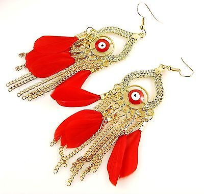 1 Evil Eye Pair of Feather & Gold Metal Dangle Earrings - RED - #2171