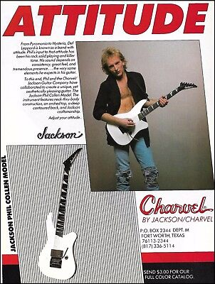 Phil Collen (Def Leppard) 1990 Signature Model Jackson Charvel guitar 8 x 11 ad
