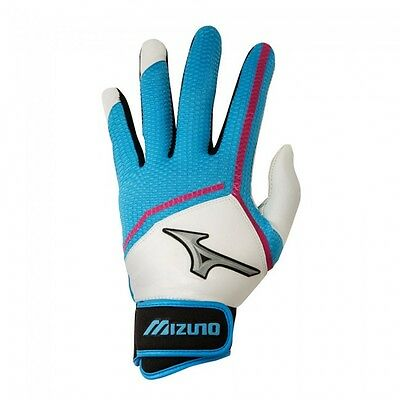 Mizuno Finch Women's Fastpitch Softball Batting Gloves 330354 Blue Pink White