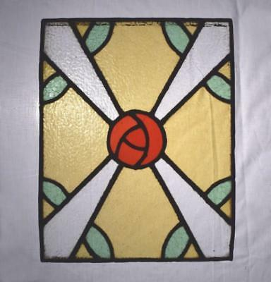 *Antique Stained Glass Panels with Rose Pattern (12 AVALABLE) Price is for One