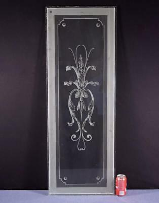 "*Antique French Etched Glass Window 1/4"" Thick Glass"
