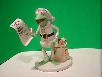 LENOX KERMIT CLAUS FROG sculpture NEW in BOX with COA MUPPETS miss piggy