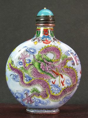 Big Chinese Two Dragon Hand Painted Copper Enamel Snuff Bottle