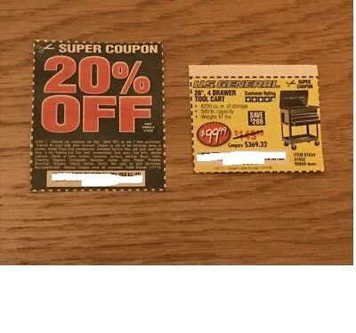 "Harbor Freight Coupons for a US General 26"", 4 Drawer Tool Cart - Plus a 20% Off"