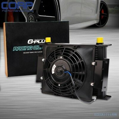 """Gplus 28 Row Universal 10AN Engine Transmission Oil Cooler + 7"""" Fixed  Fan Kit"""