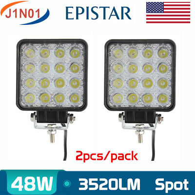 2X 48W LED Off road Work Light SPOT Lamp 12V 24V Car Boat Truck Driving Jeep SUV