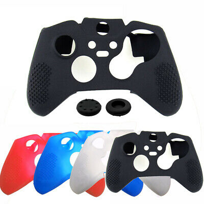 Black Silicone Skin Grip Protective Case Cover+Cap For Xbox One Elite Controller