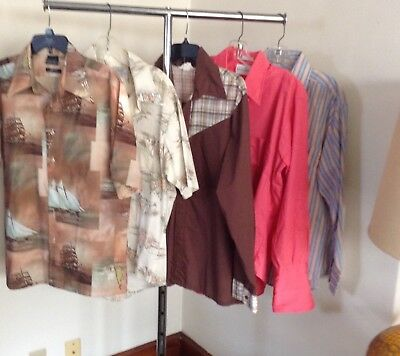 VINTAGE 70s LOT of 5 SHIRTS WESTERN POLY SAILBOAT PRINT and MORE! LARGE
