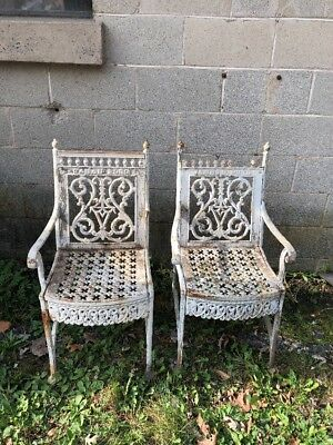 Pair 1900 Curtain-style William Adams & Co Philadelphia Cast Iron Garden Chairs