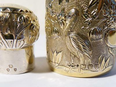 """Quality 1893 Chinese Repousse Chinoiserie Gilt Silver Scent Perfume Bottle 4"""""""