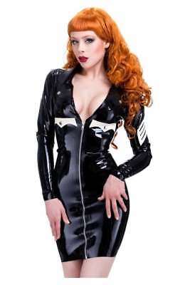R0458 Latex WESTWARD BOUND MILITARY DRESS 10 UK PS SILVER/RED TRIM  RRP £194.53