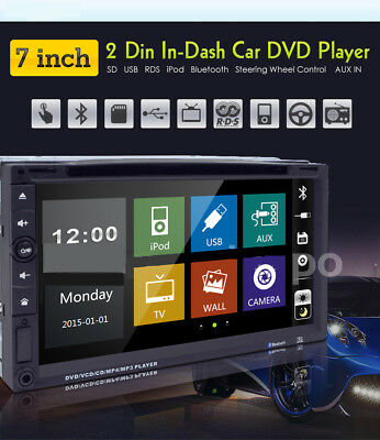 """7""""Car Stereo Radio DVD Player Sony Lens Double 2Din iPod Bluetooth TV MP3 AUX CO"""