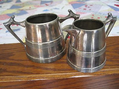 Vintage Sheffield Silver Plate Creamer Pitcher and Open Sugar Made in USA #1112