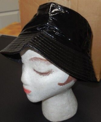 NWOT Black Vinyl Bucket Rain Hat Dance Theatrical 1 size fits child