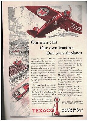 1929 Texaco Gasoline And Motor Oil Ad - Our Own Cars Tractors and Airplanes