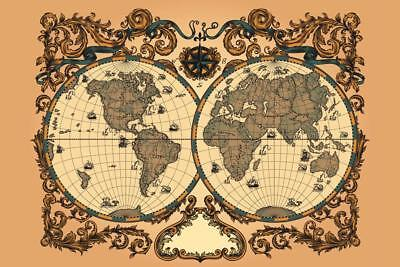 Ornate World Renaissance Period Vintage Antique Style Map Poster 24x36 inch