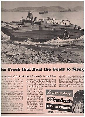 1943 The Truck That Beat The Boats To Sicily Ducks 1943 B F Goodrich Tires Ad