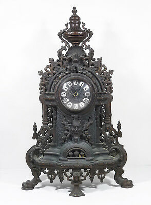 """Vintage Farbel French Imperial Ornate Brass Mantle Clock Italy Gothic Patina 24"""""""