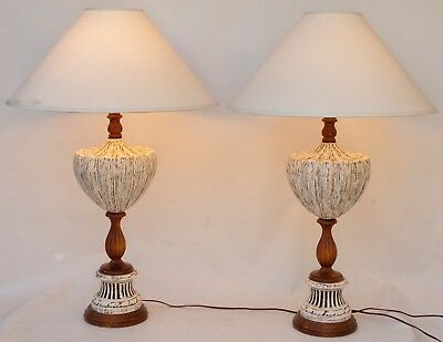 Pair of (2) Large Vintage Mid Century Modern Ceramic and Wood Table Lamps Retro