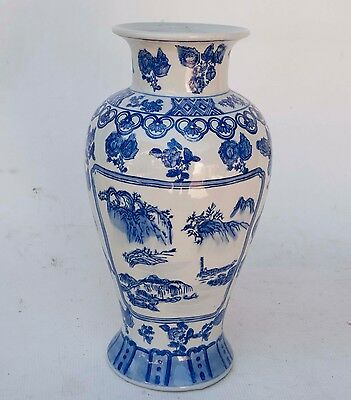 "12"" TALL Large Vintage Chinese Blue&White Porcelain Vase Hand Painted."