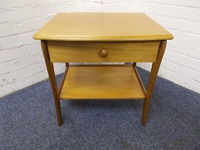 Vintage/Retro Light/Dark Oak Veneer Bedside/Side Table