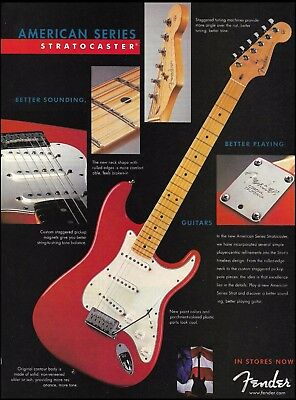 The Fender American Series Red Stratocaster guitar ad 8 x 11 Strat advertisement