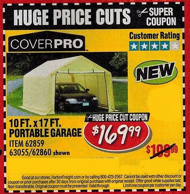 Harbor Freight Super Coupon for a Cover Pro 10 Ft. x 17 Ft. Portable Garage