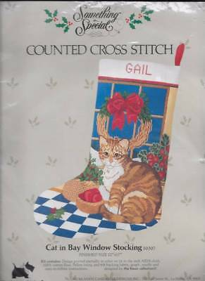 Cat in the Bay Window Christmas Stocking Something Special Cross Stitch Kit NEW