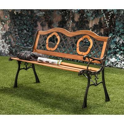 Outdoor Garden Bench Cast Iron and Hardwood Swan Accents Criss-cross Back