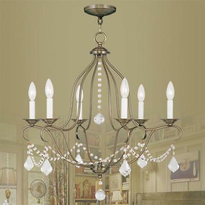 Metal 6-Light Crystal Chandelier with Glass Crystals Antique Brass Finish