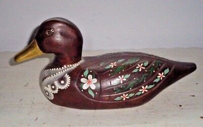 "Hand Painted Wooden Duck 9"" Long Signed Rains"