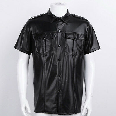Mens Faux Leather Short Sleeve Police Shirt Muscle Tops Police Uniform Clubwear