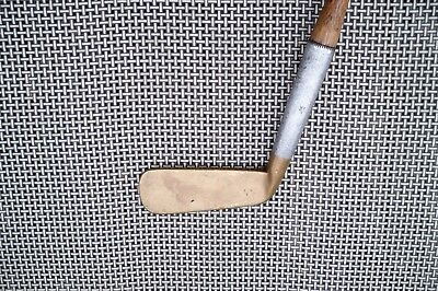 Antique Vintage Hickory Shaft Bussey Patent Early Smooth Face Brass Head Putter