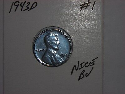 wheat penny 1943D NICE BU STEEL LINCOLN CENT 1943-D LOT #1 UNC WWII STEEL LUSTER