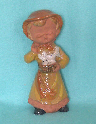 Vintage Terracotta Pottery Girl Figure with Bunnies