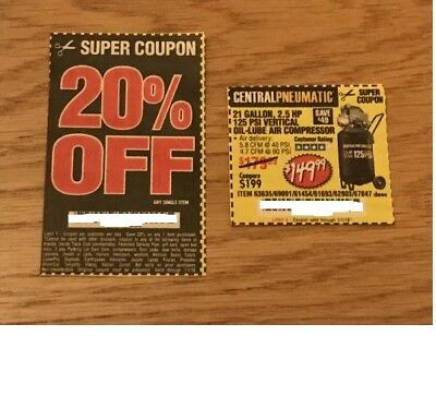 Harbor Freight Coupons for a 2.5 HP, 21 Gallon 125 PSI Air Compressor & a 20 Off