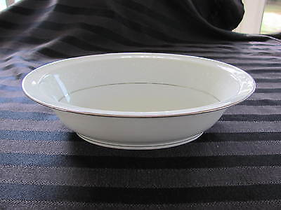 "Noritake Fine China Buckingham 10"" Oval Vegetable Serving Bowl Platinum Trim"