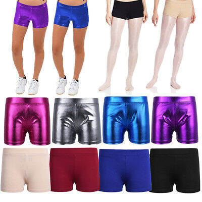 Girls kids stretch dancewear gymnastics swimming shorts hot pants costume 6-14Y