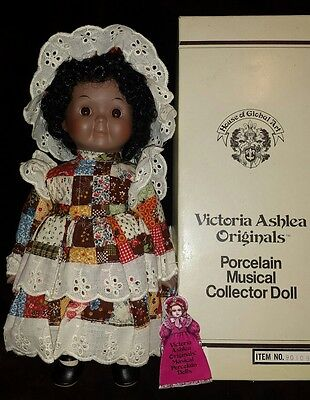 1983 PATCH WORK Victoria Ashlea Porcelain Musical Collector Doll GLOBAL ART box