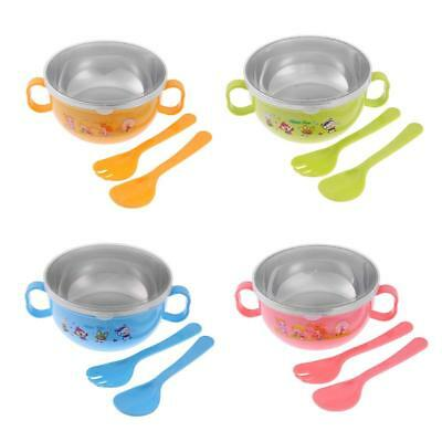 3pcs Cute Cartoon Tableware Set Baby Kids 300ml Feeding Bowl W/Cover+ Spoon+Fork