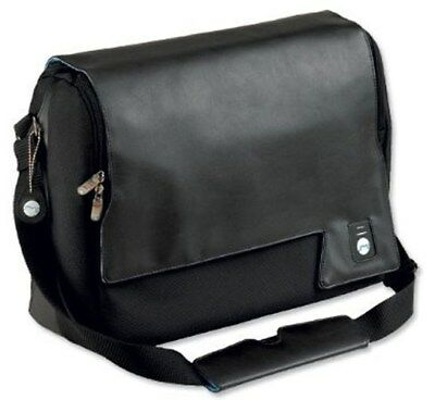 Masters Executive Unisex Laptop Courier Shoulder Bag - Black Leather Look D1KA#