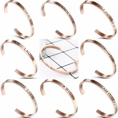 Engraved Rose Gold Stainless Steel Letter Cuff Bracelet Bangle Family Jewellery