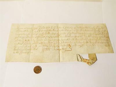 1658 William Cholmeley 2nd Baronet of Whitby 17thC Vellum Document #W2