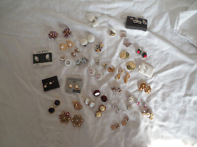 Large lot group of 34 clip on, screw back pierced earrings, Vintage & pre owned