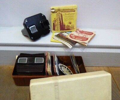 2 Vintage Sawyers View-master Optical 3D Bakelite Viewers + Discs  + Case 1950's
