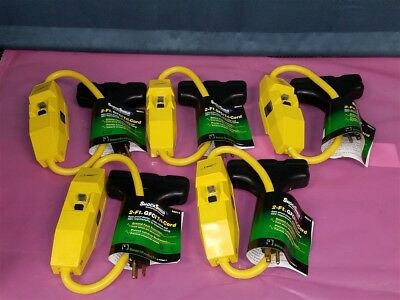 Lot of 5 NEW TRC 2-Ft GFCI Tri-Cord Weather Resistant Heavy Duty 12/3AWG 120V