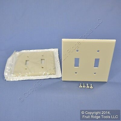 2 Leviton Light Almond 2-Gang Toggle Switch Cover Wall Plate Switchplates 78009